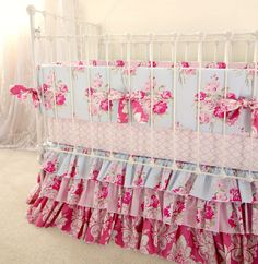 Pink and Blue Roses Baby Girl Crib Bedding by LottieDaBaby