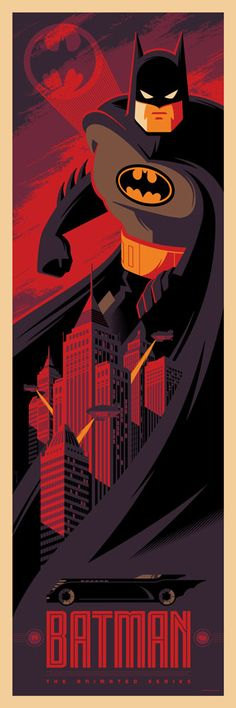 Batman: The Animated Series by Tom Whalen - Batman Poster - Trending Batman Poster. - Batman: The Animated Series by Tom Whalen Im Batman, Batman Robin, Superman, Batman 1966, Batman Stuff, Tom Whalen, Comic Book Characters, Comic Character, Comic Books Art