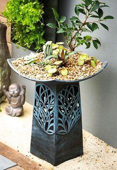 Organic Glaze Ceramic Lighted Bird Bath