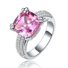 Oferta Diamant anillo de cóctel para mujer rosa anillos de joyería fina de lujo anillos cuadrados joyerías del partido accesorios bijoux DR146