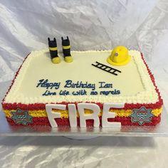 Fire brigade themed cake #bespokecakes #cakeshop #fireman #novelty #egglesscakes