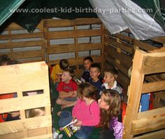 "Betsy's Magic Tree House Party Tale - used pallets to build a ""treehouse"" in the garage"