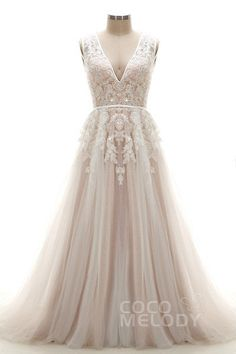 Latest A-Line V-Neck Natural Chapel Train Tulle and Lace Ivory/Champagne Sleeveless Open Back Wedding Dress with Appliques and Beading LD3932