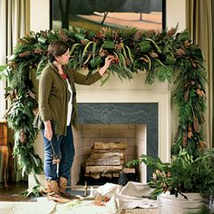 Santa Deserves a Properly Dressed Mantel Christmas Decoration: Lush Mantel Swag < Holiday Mantel Decorating Ideas - Southern Living Mobile Christmas Fireplace, Christmas Mantels, Noel Christmas, Winter Christmas, Lush Christmas, Beautiful Christmas, Christmas Garlands, Natural Christmas, Christmas Greenery