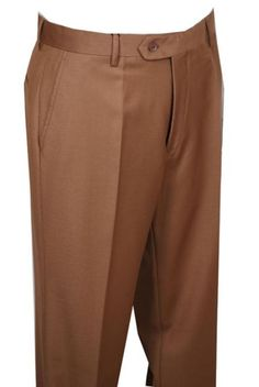 Mens Dress Pants Camel without pleat flat front $69: Mens Dress Pants Camel Non Pleated super 150's poly-rayon/wool fee...