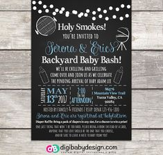 BBQ Baby Q Coed Shower Invitations Featuring Backyard Bash Such