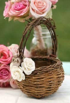 Bird Nest Flower Girl Basket, Paper Roses wedding decor, DIY Valentines day wedding decor#valentines day