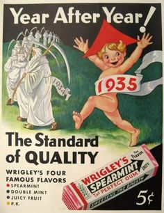 1935 Wrigley's Spearmint Gum Ad ~ Father Time, New Year Baby