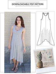 PDF Sewing Pattern - Maxi Dress Size 8/10