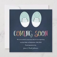 Shop Baby Shoes Pregnancy Announcement in Navy created by ClementineCreative. Personalize it with photos & text or purchase as is! Baby Announcement Photos, Pregnancy Announcement Cards, Baby Announcements, Baby Sneakers, Baby Shoes, Faire Part Simple, Expecting Baby, Baby Design, Baby Shower Invitations