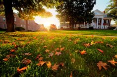 Lafayette College - the sun sets between Marquis Hall and Ramer History House, fall 2012