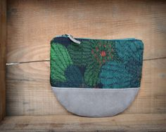 """This beautiful Large size Kimono × Leather Wallet is made of My FAVORITE """" Beautiful Green Flower motif """" Vintage Japanese woven """" Kasuri """" Kimono fabric ( 100% Silk ) and Beautiful Gray Suede leather."""