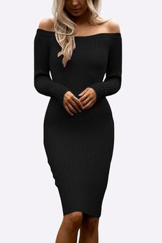 Black Sexy Off Shoulder Midi Bodycon Dress - US$27.95 -YOINS