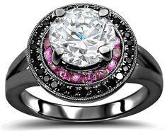1.50ct Moissanite Black Diamond Pink Sapphire Engagement Ring 14k Black Gold