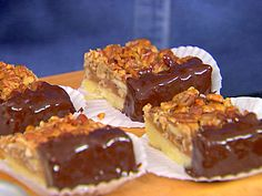 Pecan Squares Dipped in Chocolate.