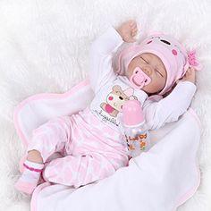 Nicery Reborn Bambino Bambola Morbido Silicone Vinile 22inch 55 Centimetri Magnetica Bocca Realistica Ragazzo Giocattolo Ragazza Rosa Bianco Occhi Chiudi Baby Doll A3IT