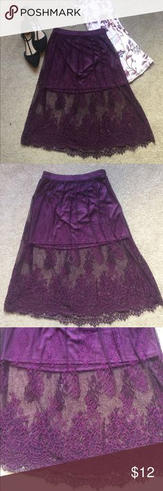 Purple Lace Skirt Beautiful knee length lace skirt with short lining underneath. Brand new with tags! Please note that this listing is for the skirt only. Other items are not included. Forever 21 Skirts Midi