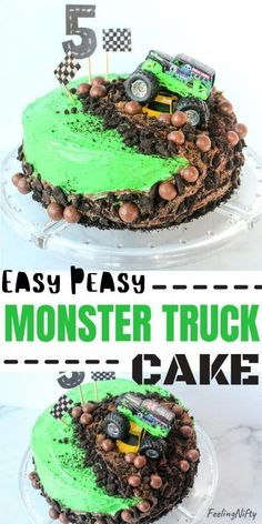 How to Make a Monster Truck Cake -The easiest cake you'll ever make! This cute, easy and fun DIY homemade birthday cake will wow any monster truck fan! In this tutorial you'll learn how to make it using frosting/buttercream, small round cake pans and a Grave Digger cake topper toy and ramp. This simple cake is perfect for boys and girls. Great for a car party, John Deere , or monster jam parties. #birthdayCake #easyCake #birthdayCakeIdeas #cakeIdeas #homem #ChocolateRaspberryCake Digger Birthday Cake, Monster Truck Birthday Cake, Diy Birthday Cake, Homemade Birthday Cakes, Homemade Cakes, 5th Birthday, Boys Birthday Cakes Easy, Women Birthday, Birthday Ideas