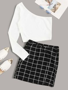 To find out about the One Shoulder Rib-knit Tee and Split Grid Skirt Set at SHEIN, part of our latest Two-piece Outfits ready to shop online today! Cute Girl Outfits, Cute Casual Outfits, Pretty Outfits, Girls Fashion Clothes, Teen Fashion Outfits, Girl Fashion, Mode Pastel, Crop Top Outfits, Stylish Dresses