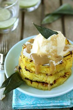Grilled Pineapple with Brown Sugar Rum Sauce #recipe #dessert #pineapple