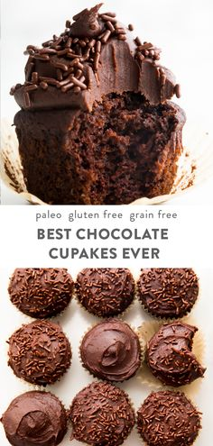 These are the best chocolate paleo cupcakes ever! Gluten free and dairy free, they're moist and rich with a soft crumb, and the dark chocolate frosting is oh so good. This recipe is surprisingly easy and quick to pull together. Made with the perfect blend of almond flour, tapioca flour or starch, and coconut flour. #chocolate #paleo via @