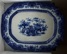 "Large 20"" Vintage Deep Flow Blue Indian Jar Serving Platter Furnival 