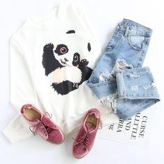 Shop White Panda Print Sweatshirt at ROMWE, discover more fashion styles online. Teen Girl Outfits, Girls Fashion Clothes, Winter Fashion Outfits, Cute Fashion, Outfits For Teens, Teen Fashion, Korean Fashion, Cool Outfits, Casual Outfits