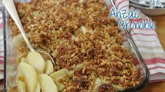 Ive made this twice and its really nice, anzac biscuit chewy with slightly firm apple at the bottom, yum! Anzac Biscuits, High Fiber Foods, Apple Butter, Recipe Details, Macaroni And Cheese, Sweet Tooth, Sweet Treats, Food And Drink, Vegetarian