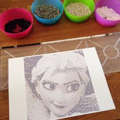 First row of Elsa !! Perler beads • pixel art !! Pattern by Sebastien Herpin