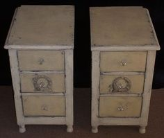 Yellow and ivory country-style nightstands; 1920s.