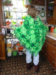 Lucky Irish Green Shamrock Fringed Poncho handmade (30.00 USD) by PaisleyPurveyorToo