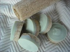 Peppermint-Tea Tree Loofa Foot Soap. This is a link to purchase, but it would be easy to make. Just add essential oils to a goat's milk melt and pour base, then pour the mixture over sliced loofah sponges.