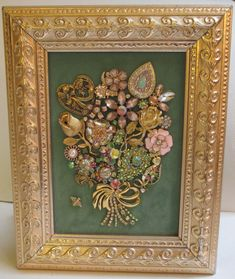 Jeweled Framed Jewelry Flower Bouquet Valentine Hearts Green Pink Pastel Vintage Gold Rhinestones Fabulous by audreymivey on Etsy