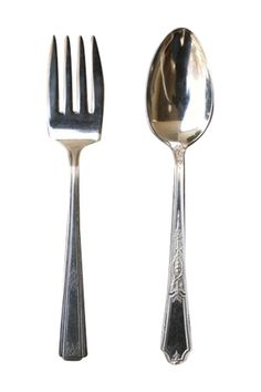 Hostess Set is a an upcycledsilver-plate set of a large serving spoon and meat fork.   Silver Hostess Set by Cake Vintage Table & Home. Home & Gifts - Home Decor - Dining - Serveware California