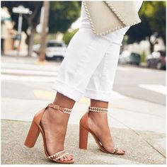 **** Just in for your April 2017 Stitch Fix box!  Love these gorgeous nude block heel sandals. Get these in your next delivery!   Love them paired with this white Jean and off white clutch. Stitch Fix Spring Summer 2017. #affiliate # sponsored # StitchFix