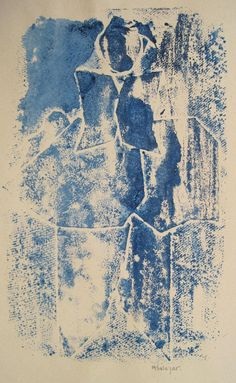 "Mercedes Salazar  ""Figura azul""  Collage craft sobre papel Prueba de artista 25 X 16 cms.  http://www.portondesanpedro.com/ver-producto.php?id=10364"