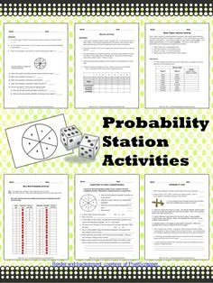 Three fun station activities for learning about theoretical and experimental probability and the Law of Large Numbers. Math Teacher, Math Classroom, Teaching Math, Teaching Ideas, Classroom Tools, Math Resources, Math Activities, Fun Math, Probability Worksheets