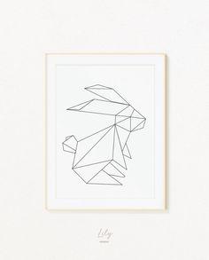 Rabbit Print, Origami Rabbit, Geometric Print, Geometric Art, Origami Print…