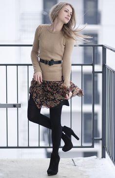 Sweater, floral skirt, black tights. via Acid Coke blog