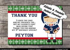 Football Birthday Thank You Card Red and Blue - Editable Printable Digital File with Instant Download