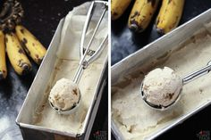 Ripe bananas cooked in brown sugar is used to create creamy banana ice cream with a caramel sweetness. Get the recipe for Caramelized Banana Ice Cream on The Tummy Train blog! :)