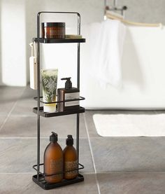 Buy the Tower Bath Rack Black by Yamazaki and more online today at The Conran Shop, the home of classic and contemporary design Shower Storage, Bathroom Storage, Small Bathroom, Bathrooms, White Bathroom, Hanging Shower Caddy, Shower Rack, Serene Bathroom, Bathroom Stand