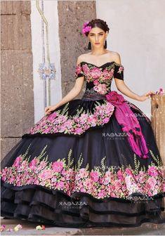 cd70ba02106 Floral Charro Quinceanera Dress by Ragazza Fashion Style