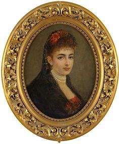 Senecourt, Jules de 19. Jhdt. Damenportrait. Signiert. Öl/Lwd., 53 x 42 cm