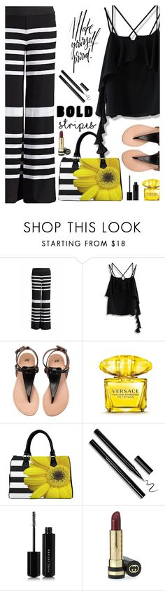 """""""Strong Stripes:  Graphic Striped Pants"""" by juliehooper ❤ liked on Polyvore featuring Chicwish, Versace, Marc Jacobs, Gucci, stripedpants and polyvoreeditorial"""