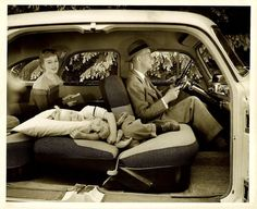 The front seat of the 1951 Nash Statesman folded down to make a bed.