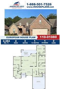 If you love the European design, you need to see Plan 110-01080 featuring 2,384 sq. ft., 4 bedrooms, 3.5 bathrooms, a screened porch, a breakfast nook, the split bedroom layout, and a bonus room. Learn more about this plan on our website. European Plan, European House Plans, Best House Plans, Floor Plan Drawing, Building Section, Bedroom Layouts, Build Your Dream Home, Breakfast Nook, Square Feet