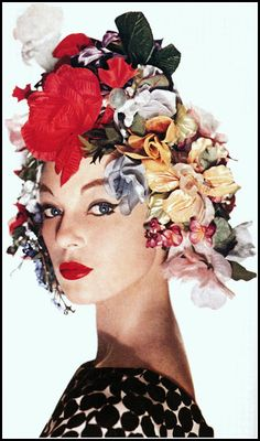 Ivy Nicholson in a colorful Spring hat (Easter bonnet)  by Adolfo, dress by Adele Simpson, photo by Louise Dahl-Wolfe, Harper's Bazaar, April 1958