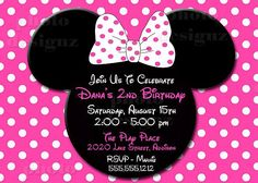 Hot Pink Minnie Mouse Birthday Party Invitation by photodesignz on Etsy $10