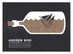 Andrew Bird Gig Poster by Lauren Dickens at Decoder Ring Gig Poster, Typography Poster, Vintage Graphic Design, Graphic Design Inspiration, Decoder Ring, Singer Songwriter, Andrew Bird, Indie, Poster